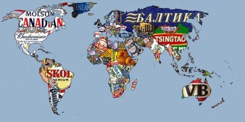 Carte du monde des bières par pays.