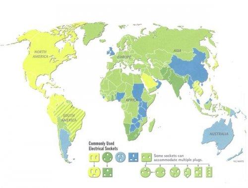 Carte du monde des prises électriques par pays. Achetez un adaptateur universel, ce sera plus simple!