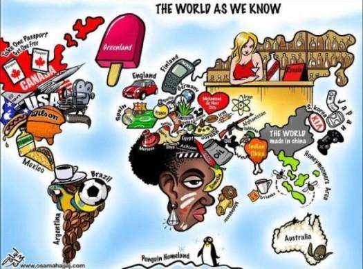 Carte du monde sur les stéréotypes et les symboles de chaque pays.