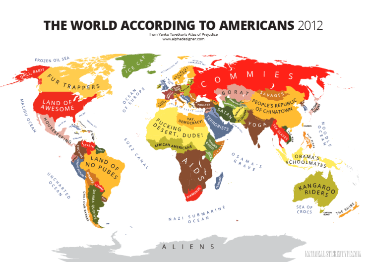 Carte du monde (de stéréotypes) vue par les Américains.