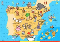 Carte d'Espagne humoristique avec dessin des spécialités régionales.