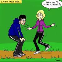 Dessin humoristique d'un couple qui fait du jogging pour illustrer une activité incontournable à Valencia: se promener et courir dans les Jardins de la Turia, à Valence (Espagne).