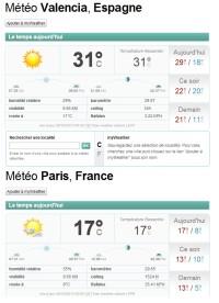 La météo à Paris et à Valencia (Valence, Espagne): quelques degrés de différence...