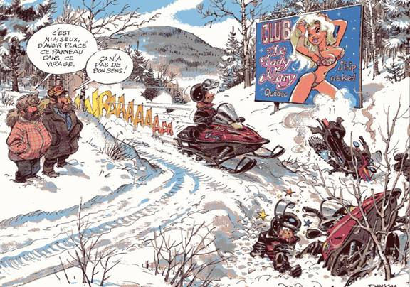 Humour : Aventures en motoneige au Canada